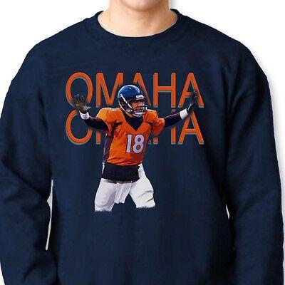 huge selection of 80b02 99573 Peyton Manning OMAHA #18 Broncos T-shirt Denver NFL Champs Crew Sweatshirt    eBay