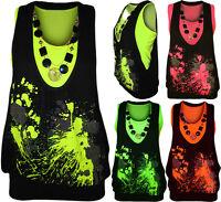 New Womens Neon Necklace Glitter Print Ladies Sleeveless Fluorescent Top 8 - 14