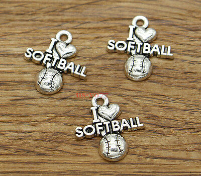 BULK 20 Softball Charms Antique Silver Tone I Love Softball SC1663