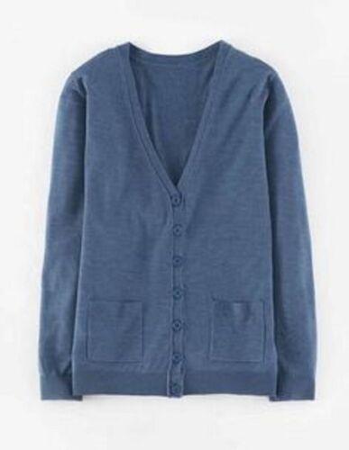 Chic Boden easy merino silk cardigan Heron blue size UK 8 10