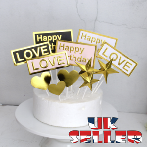 Amazing Happy Birthday Cake Pick Topper Decoration Small Gold New Personalised Birthday Cards Paralily Jamesorg