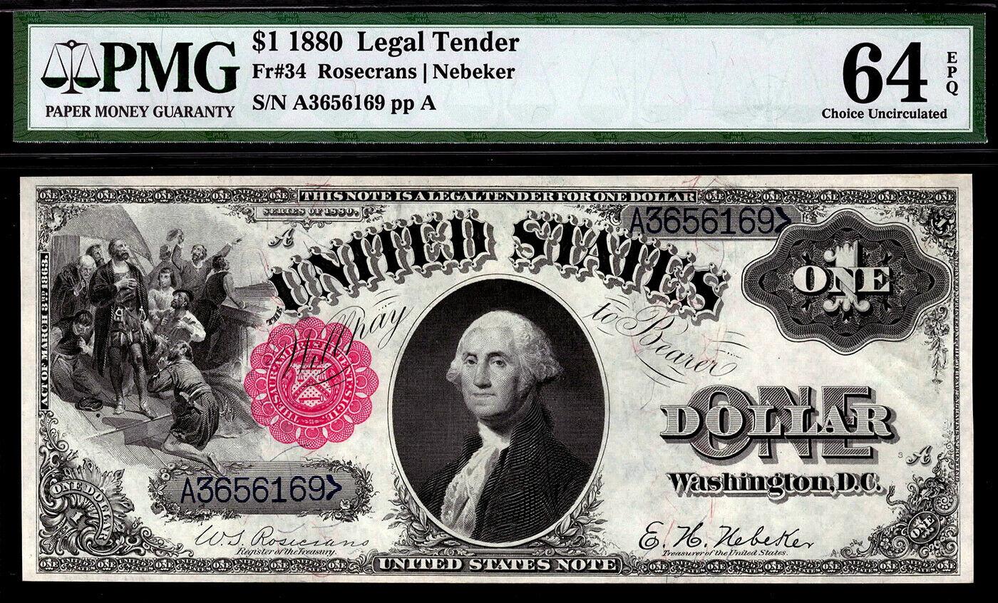 1880 Fr.34 $1 One Dollar Bill Red Seal Legal Tender PMG 64 EPQ 1