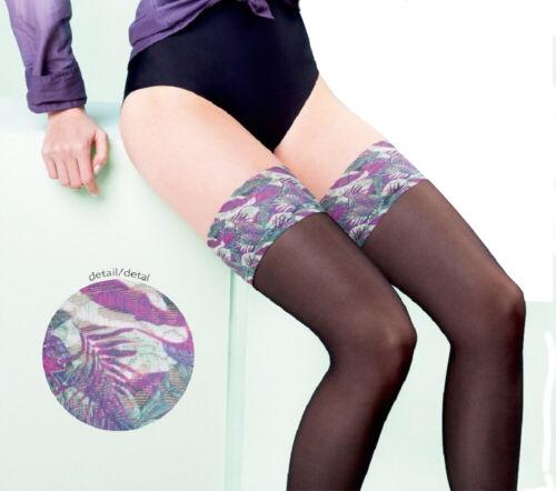 """Womens Sheer Colourful Plain Top Hold Ups /""""Jungle/"""" 20 Denier Gabriella New"""