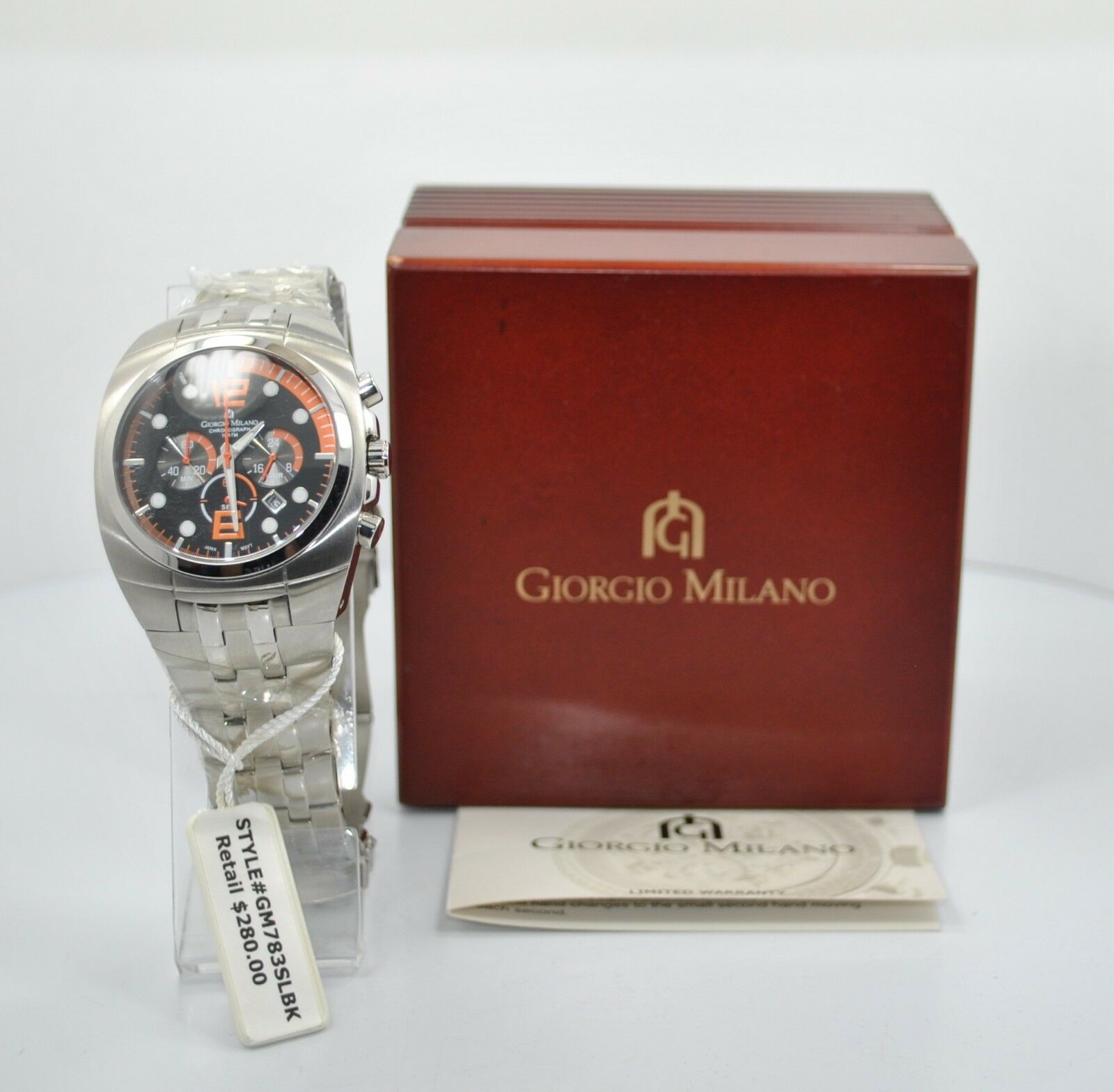 NEW Giorgio Milano GM783SLBK Stainless Steel Chronograph .R    280.00