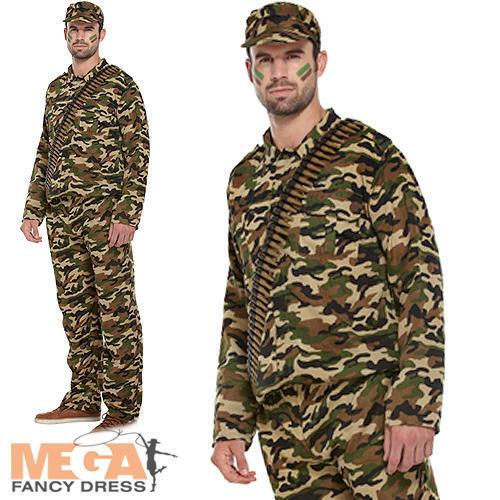 L/'uomo dell/'Esercito Da Uomo Costume Soldato Militare Mimetica Uniforme Costume Adulti