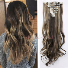 """Brown&Coffee Brown 24""""Curly Wavy Real Mega Full Head Clip in Hair Extensions 8Pc"""