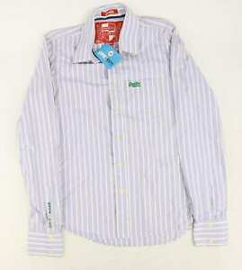 Superdry-Mens-Size-M-Cotton-Striped-Blue-Casual-Shirt