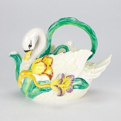 Vintage Fitz floyd Maryland style Swan Tulip Teapot Porcelain artistic shabby