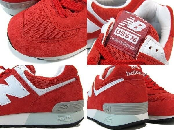 NWOB SZ 11 NEW BALANCE 576 RED WHITE SUEDE NORDSTROM EX J CREW USA MADE US576ND4
