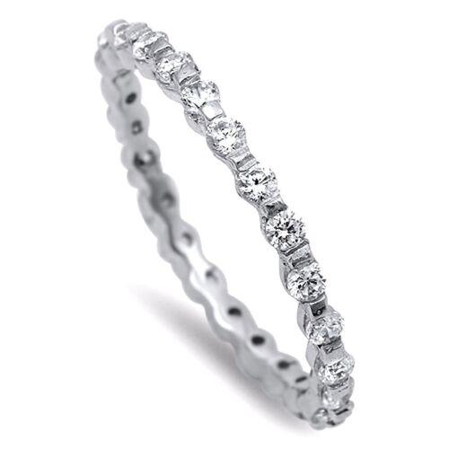 Eternity Mince Zircone Cubique Bande Anneau Argent Sterling 925 Best Price Jewelry Sélectionnable