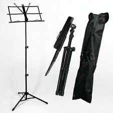 New Musician's Adjustable Folding Music Stand Black with Carrying Bag Black