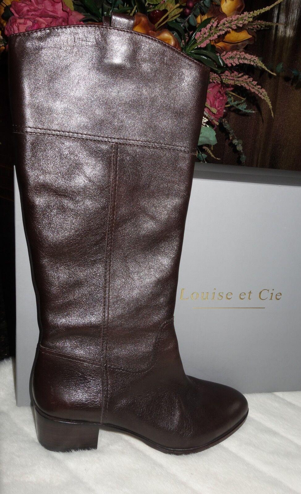 Louise Et Cie Verrah Tall Brown Leather Equestrian Boots Dark Mushroom 39 new