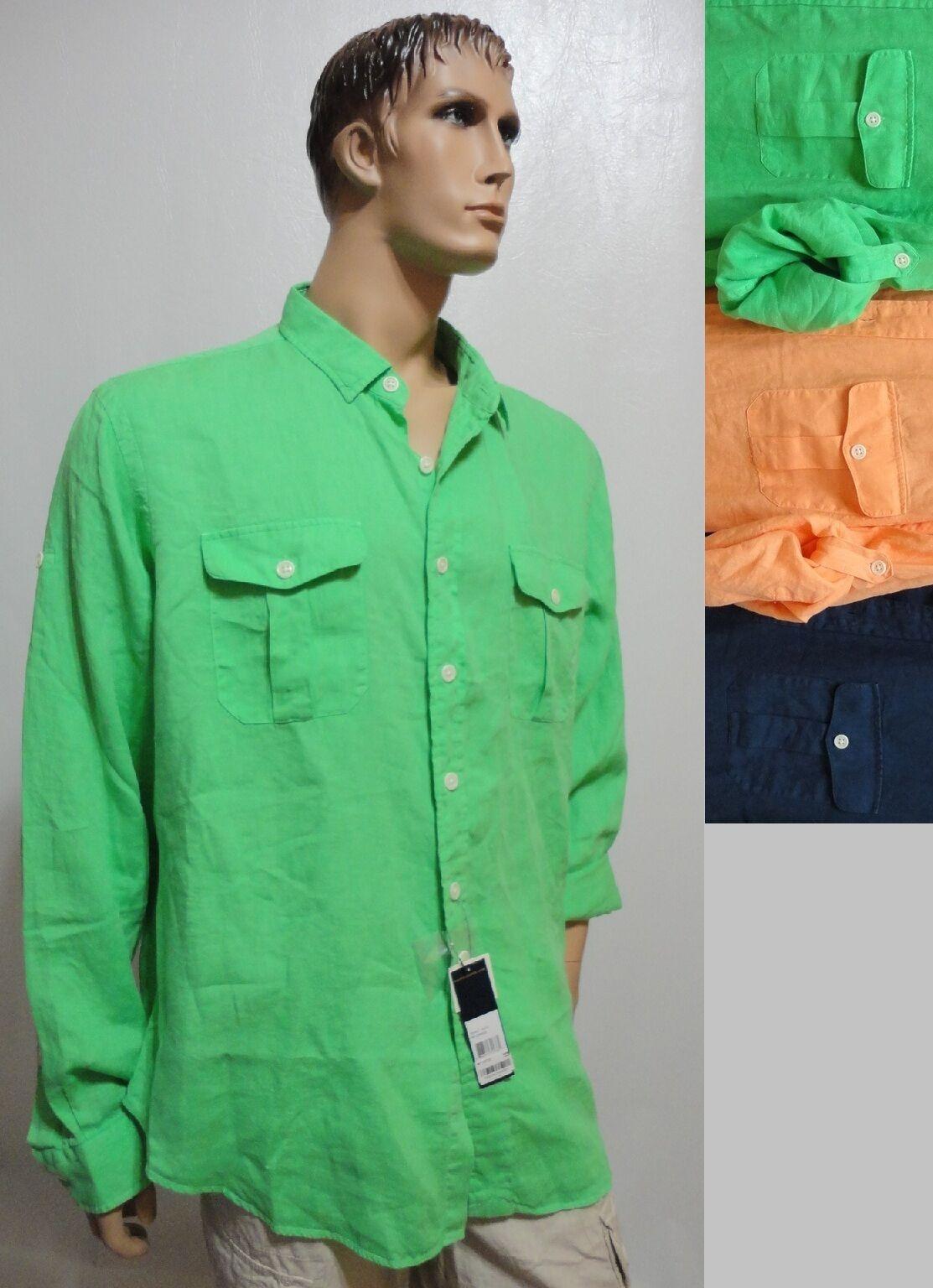 POLO Ralph Lauren 7934687 MILITARY Classic Fit Linen LS Shirt S M L XL XXL NEW