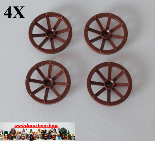 4x lego 4489 système Western canons-Voitures-Voiture-Roue brun rouge Brown d33mm