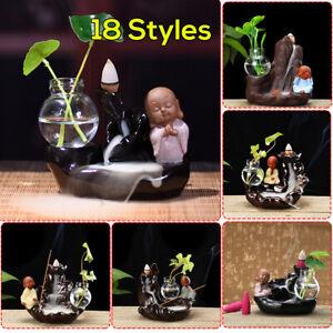 Buddha-Monk-Ceramic-Smoke-Backflow-Cone-Stick-Incense-Burner-Censer-Home-Decor
