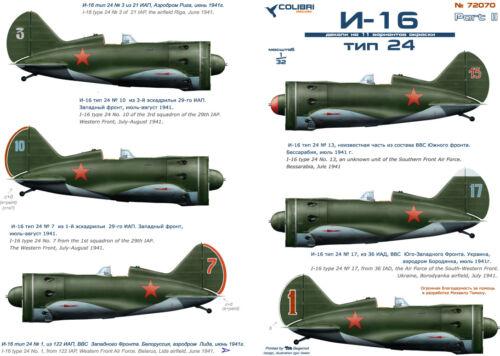 1//72 Polikarpov I-16 Typ 24 Sowjetische Luftwaffe cd72070// Colibri Decals