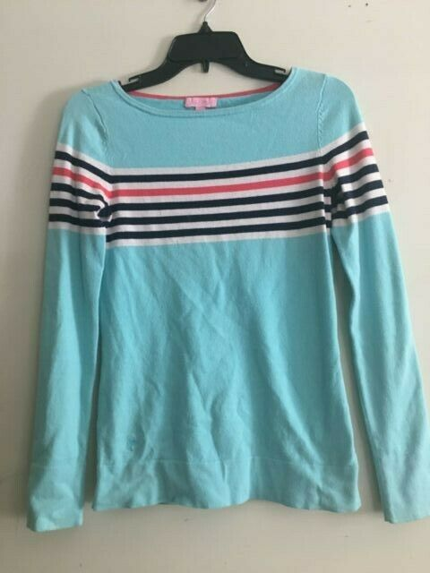 Lilly Pulitzer Turquoise Coral Size S Sweater Cotton Blend Women Style