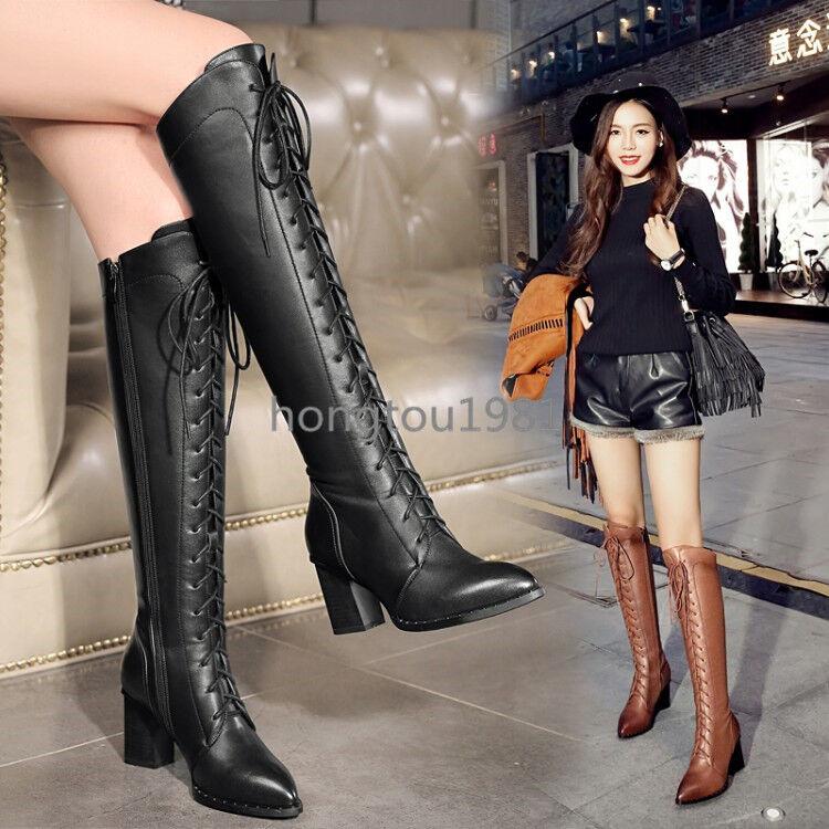 Zapatos de Cuero Mujer botas Hasta La Rodilla Tacones Real De Bloque De Alto Puntera en punta occidental