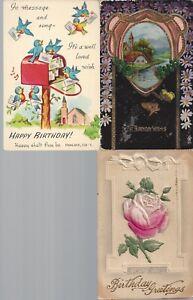Vintage-Assorted-Birthday-Postcards-Circa-1800-039-s-1900-039-s-Lot-of-5