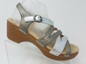 Dansko-Stevie-Womens-Clog-Sandals-Size-41-10-Silver-Comfort-Shoes