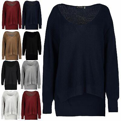 Womens Oversized Jumper Ladies V Neck Curved Hem Fleece Knitted Baggy Sweatshirt