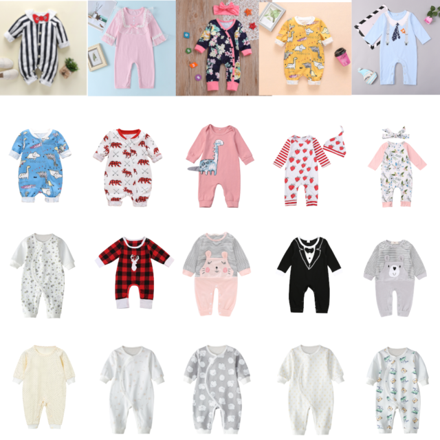 Baby Rompers Newborn Boys Girls Cotton Tattoo Print Infant Playsuit Jumpsuit Lot