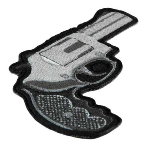 Embroidered Gun Patches Silver Short Barreled Handgun Patch