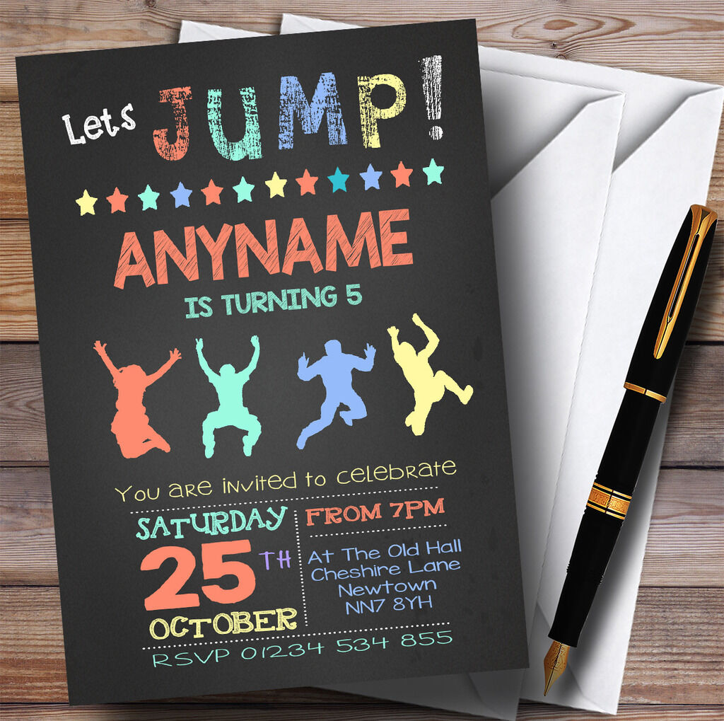 Craie Pastel Pastel Craie garçons Trampoline Childrens Birthday Party Invitations d4966c