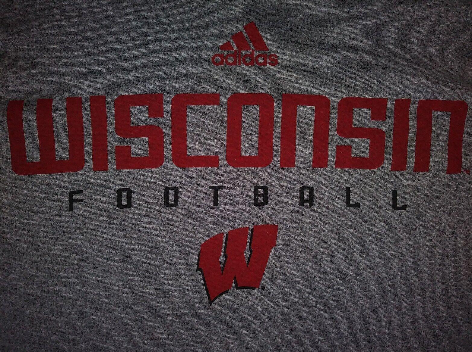 Wisconsin Badgers Adidas Climalite Performance Graues Hemd Herren M Medium NEU NWOT