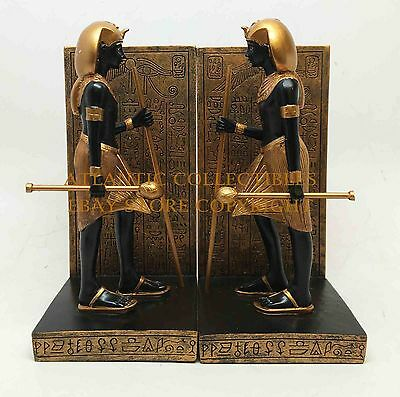 ANCIENT EGYPTIAN PHARAOH GUARDIAN SET OF TWO BOOKENDS STATUE SCULPTURE RESIN