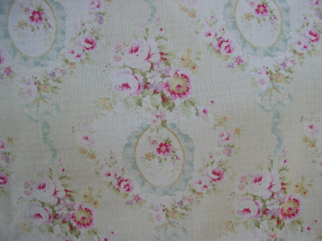 Yuwa 1890's French Wreaths of Pink Raspberry Roses Aqua Bows Dobby Cotton Fabric