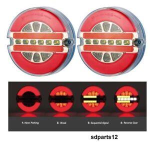 2-x-12v-24v-Neon-LED-Feux-Lampes-Arriere-Rond-Camion-Caravane-Remorque-Tracteur