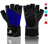 Premium Weightlifting Gloves Unisex Half-finger (large) Leather Spandex