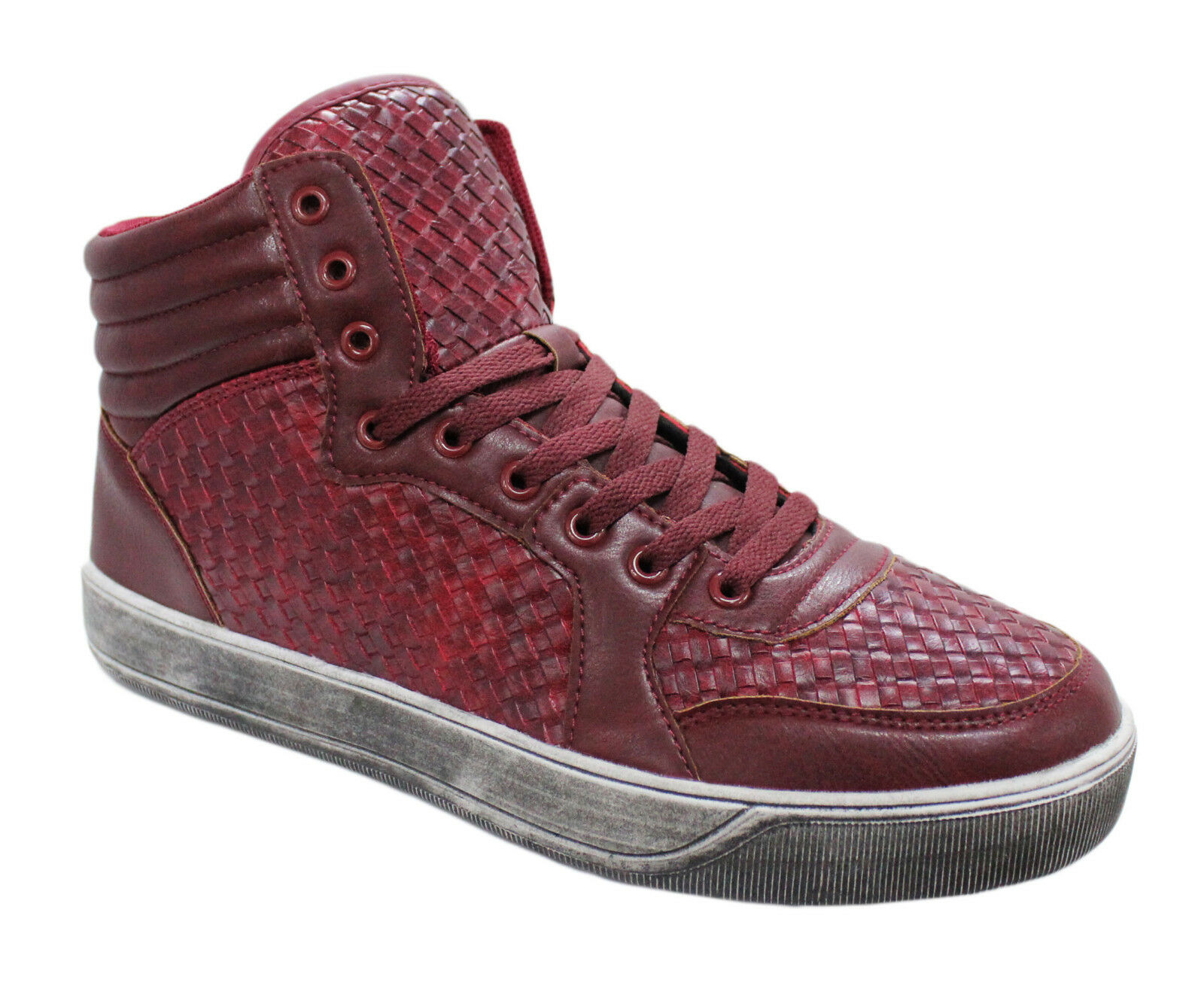 HIGH SNEAKERS MAN SHOES ARTISAN RED BURGUNDY CASUAL SHOES FAUX LEATHER