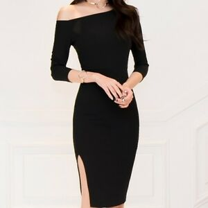 timeless design 953cc 309c6 Dettagli su Elegante vestito abito tubino nero corto maniche aderente slim  morbido 4729