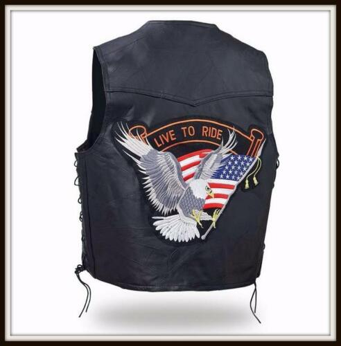 "Vest jacket leather Plain "" Patch Aigle Live to Ride { M to 3XL } biker country"