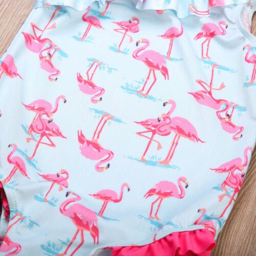 NEW Girls Blue Flamingo Ruffle Swimsuit Bathing Suit 2T 3T 4T 5T 6