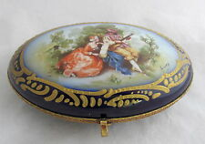 Antique French Porcelain Hand Painted Gold Gilt Cobalt Blue Oval Shaped Box