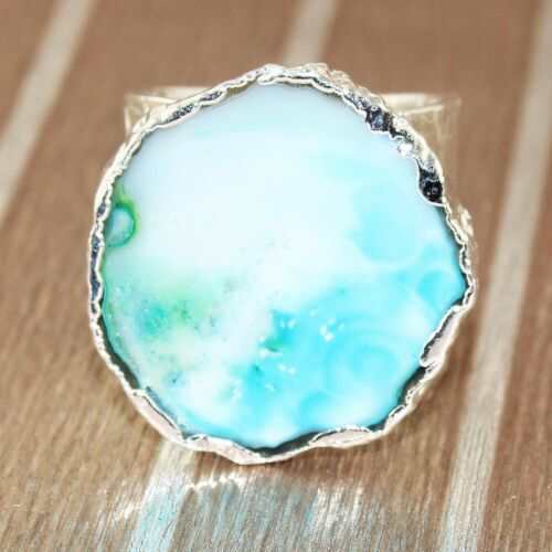 Beautiful /& Unique slice agate ring 100/% natural gemstone ring adjustable very special