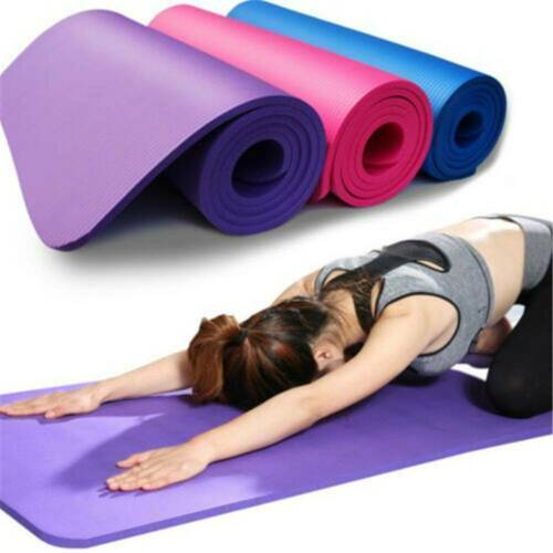 Extra Thick Non-slip Yoga Mat Pad Exercise Fitness Pilates w// Strap