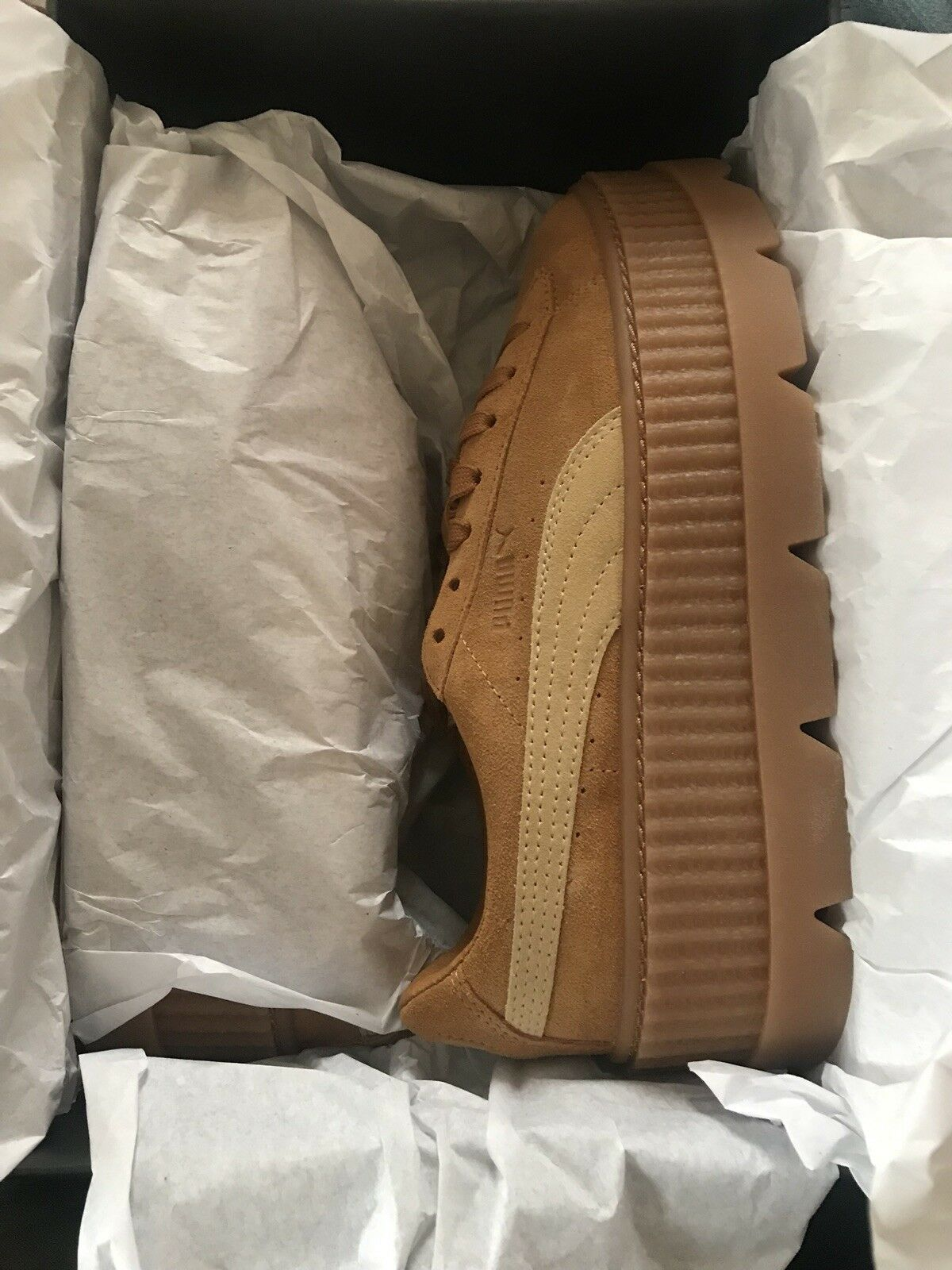Fenty Puma- Cleated Creepers-Suede Tan Tan Tan golden Brown MSRP  160 31eed3