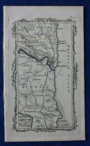 RARO Antico ROAD MAP contea di Durham, Berwickshire, Berwick, ARMSTRONG, 1776