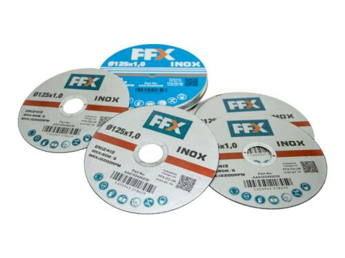 """Ffx 125mm//5/"""" x 1mm x 22mm en acier inoxydable abrasif découpe meuleuse disques x 50"""