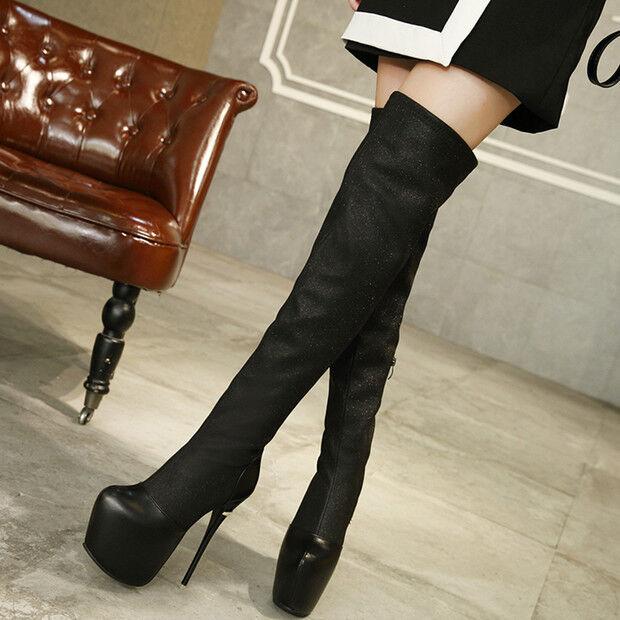 stiefel up knie stilett 15 cm schwarz elegant simil leder 9508