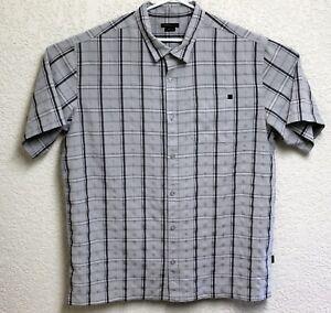 O-039-Neill-Mens-Light-Grey-Plaid-Button-Front-Short-Sleeve-XXL-Shirt-EUC
