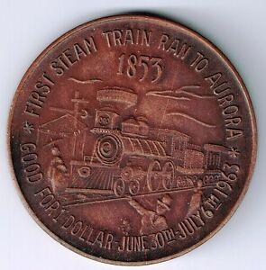 1963 AURORA ONTARIO LOCOMOTIVE SUN $1.00 BRONZE TRADE DOLLAR 1 CLOUD W/ INITIALS