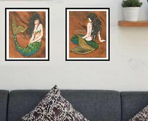 Set-of-2-Beautiful-Black-Haired-Mermaids-in-Ocean-Nautical-Wall-Art-Sea-Print