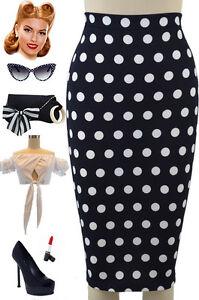 50s style navy polka dot print high waist plus size wiggle
