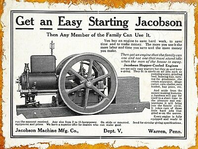 PA Warren Hopper Cooled Engines New Metal Sign 1913 Jacobson Machine Co