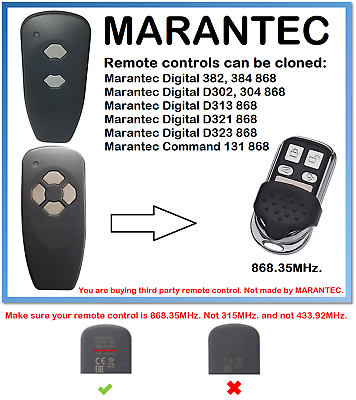 384 868 Universal Fernbedienung Duplikator 868.35MHz Marantec Digital 382